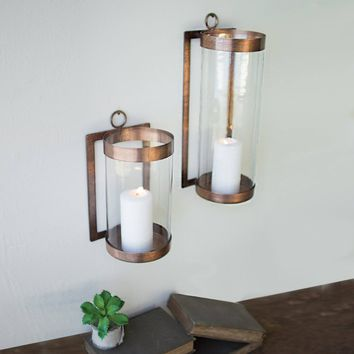 Antique Copper and Glass Wall Sconce
