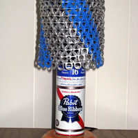 "Vintage PBR Pabst Blue Ribbon Beer Can Lamp With ""Blue Ribbon"" Pull Tab Lampshade - The Mancave Essential"