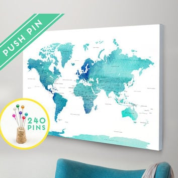 Large world map canvas choose color from macanaz shop large push pin world map canvas world map watercolor blue countries world map with pins gumiabroncs Choice Image