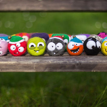 Adorable monster with jingle bell. Homemade supernatural felted soap. Jingle bell. Christmas gift for children and adults! Toy for bathroom