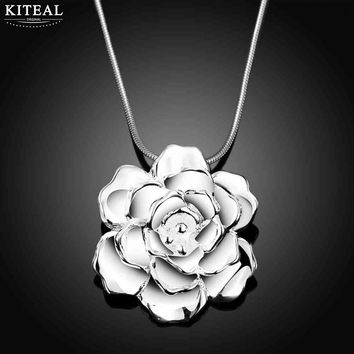2018 new Vintage Love silver plated fashion necklaces for women Big Rose flowers fashion jewelry accessories