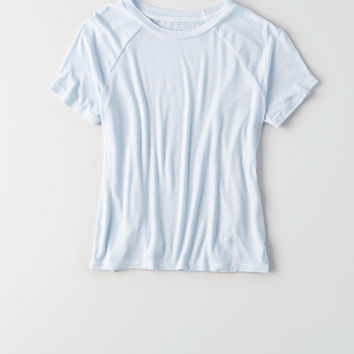 AEO Soft & Sexy Ribbed Tomgirl Raglan T-Shirt, Blue