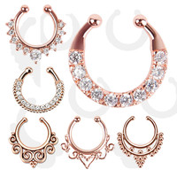 Rosegold colour 2017 new clicker fake nose ring fake septum Piercing clip non Hoop faux Body Jewelry crystal hollow For Women