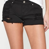 PacSun Black Super Low Rise Denim Shorts at PacSun.com
