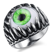 Fashion Stainless Steel Green Eyes Men's Rings (1 Pcs)