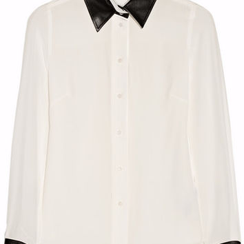 Karl Lagerfeld | Vive leather-trimmed silk shirt | NET-A-PORTER.COM