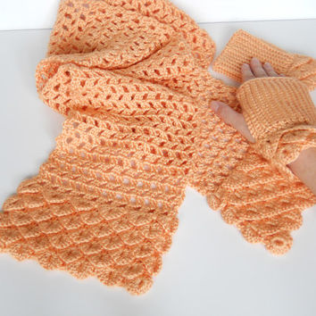 Peach Crocheted Scarf / Fingerless Gloves set - Crocodile Stitch accents