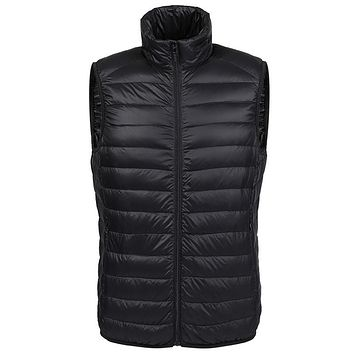Winter duck down vest men Ultra Light 90% Duck Down Vest loose waistcoat Vest Sleeveless jacket autumn black gray blue navy