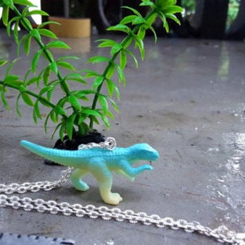 Necklace Blue T-Rex Necklace Dinosaur Necklace Awesome Velociraptor Necklace  Great Stocking Stuffer