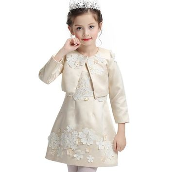 2017 Pearl flower Princess Girls Dress For Wedding Flower Girl Dresses With Jacket Baby Children Clothes Ceremonies Dress