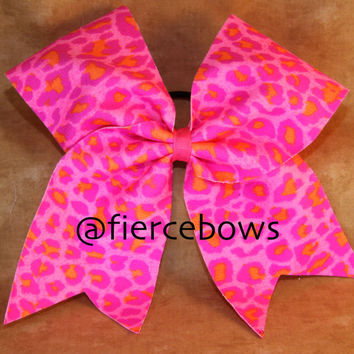 Neon Pink and Orange Cheetah Cheer Bow