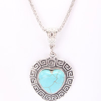 Teal Heart Design Centered Pendant Accent Thin Mesh Necklace