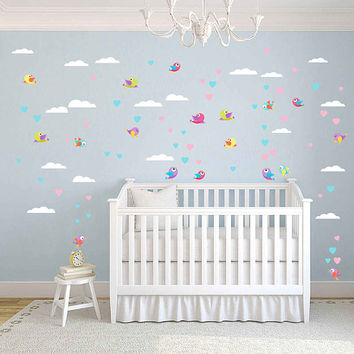 Birds wall decals for Nursery clouds wall decal for kids room kids wall decal kcik1755