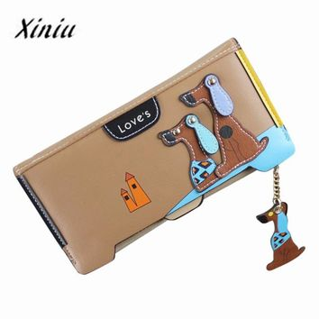 Xiniu Wallets Women Cute Puppy Dog Cartoon Binder zipper wallet Comes dog leather Coin Purse Long Wallet Card Holders Handbag#YL