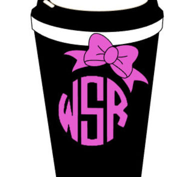 Coffee Cup Monogram Decal