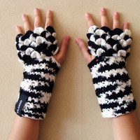 Black and white warm mittens - Crocheted Knitted warm Gloves