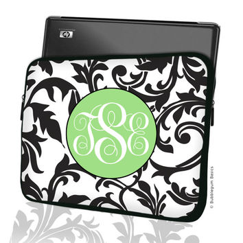 "Custom LAPTOP MACBOOK Sleeve Black Swirl Toile Coral Monogram 11"" 12"" 13"" 14"" 15"" - Personalized Monogram - Design Printed on Front AND Back"