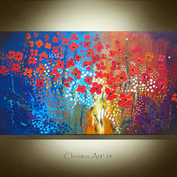 ABSTRACT PAINTING Large Artwork Canvas Art By R. Christov