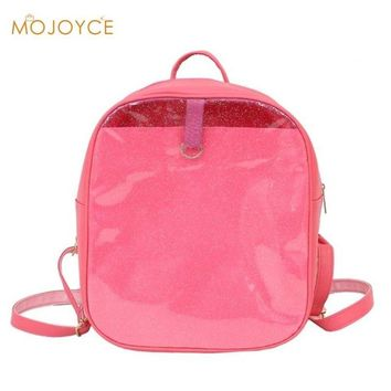 School Backpack trendy Female Preppy Glitter Backpack Girl Simple Travel PVC Rucksack Ladies Casual Small Zipper Shoulder School Bags Mochila Beach Bag AT_54_4