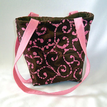 Purse, Batik Purse, Small Tote Bag, Pink, Brown, Fabric Bag, Cloth Purse, Handmade Handbag, Swirl, Batik, Teen Purse, Shoulder Bag