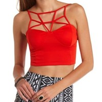 Strappy Caged Bustier Crop Top by Charlotte Russe - Fiery Red