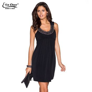Casual Sexyclub Dress Women Black Elegant Summer Vintage Diamond Party Evening Tank Dress Fit and Flare Dress Vestido 8800