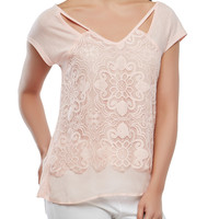 Keyhole Lace Front Tee