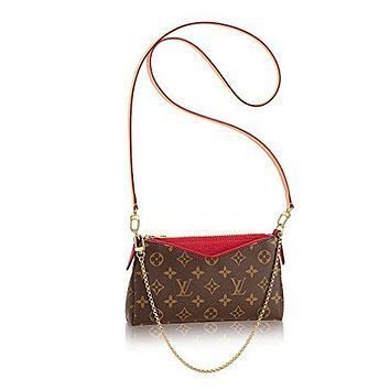 Authentic Louis Vuitton Monogram Canvas Pallas Clutch Handbag Cherry Article: M41638