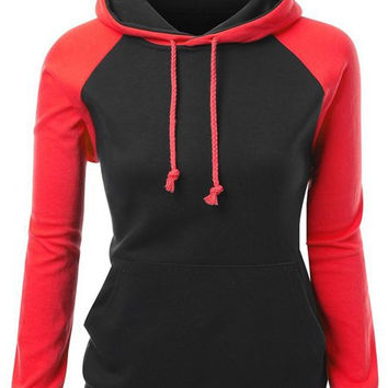 Color Block Hooded Drawstring Raglan Pullover Hoodie