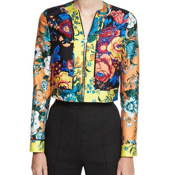 Diane von Furstenberg Bournier Fitted Paneled Collarless Jacket, Multiprint