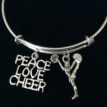 Peace Love Cheer Expandable Silver Charm Bracelet Cheerleader Adjustable  Wire Bangle Handmade Graduation Gift Trendy 074dacbed