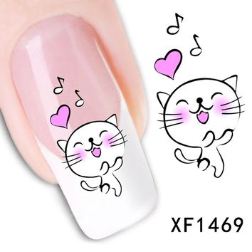 1sheets New Fashion Decals Water Transfer Nail Art Stickers Cartoon Smile Cat Wraps Tattoos Patch Manicure Tools LAXF1469