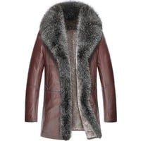 Men Brown Fur Trim Shearling Coat