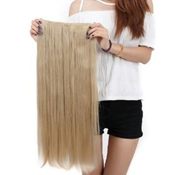 "S-noilite® Elegant 30""(76cm) Longest Straight Ash Blonde 3/4 Full Head One Piece 5 Clips Clip in Hair Extensions USA Local Post"