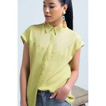 Yellow Mesh Fabric Blouse