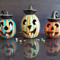 Halloween Essential Oil Diffuser and Luminary - Raku pottery Candle holder
