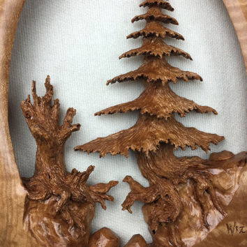 Tree wood carving wall sculpture art special best gift ever by Gary Burns the treewiz