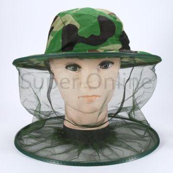 Outdoor Mosquito Camo Midge Bug Fly Insect Bee Hat Fishing Camping Field Jungle Face Protect Cap Mesh Cover Mask Travel Kits