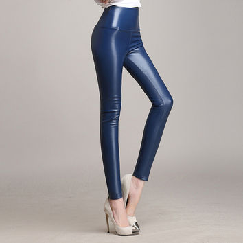 Women's Fashion Faux Leather High Waist Skinny PU Leggings Pants Candy Color Plus Size S -4XL PU Leather Winter Thicken Leggings