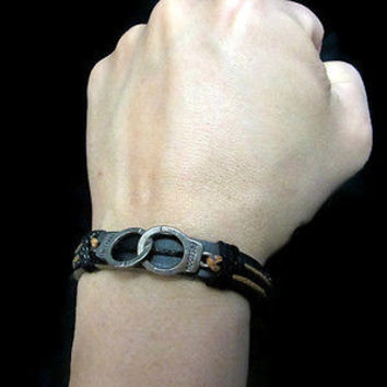 freedom brown black Fashion Women/Men Tribal Wrap Genuine Leather Cuff Bracelet