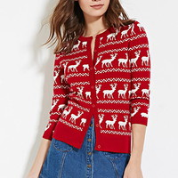 Buttoned Reindeer-Patterned Cardigan
