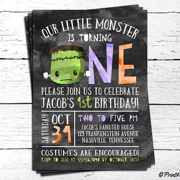 1st Birthday Frankenstein Invitation // Personalized Printable 1st Frankenstein Birthday Invitation // 1st Birthday Halloween Invitation