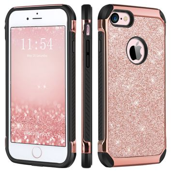 iPhone 6 Plus Case,iPhone 6S Plus Case,BENTOBEN Sparkly Glitter 2 in 1 Hard PC Laminated with Shiny Faux Leather Soft TPU Bumper Shockproof Protective Case for iPhone 6S Plus/6 Plus 5.5 Inch,Rose Gold