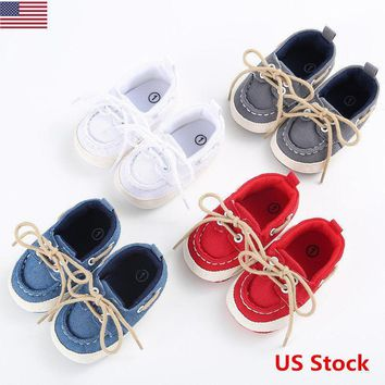 Baby Infant Kids Boys Girls Warm Sole Shoes Casual Lace Up Cloth Shoes Newborn