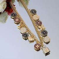 LV Woman Fashion Logo Plated Necklace For Best Gift