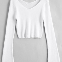 Flare Sleeve Cropped V Neck Sweater