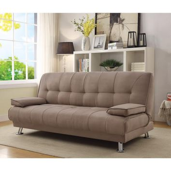 Classy Fabric Convertible Sofa Bed with Removable Armrests, Brown