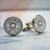 Orochimaru's curse Cuff links,Anime Naruto inspired Mens Cufflinks,black mark Design Cufflinks (XK12)