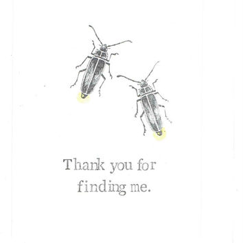 Thank You For Finding Me Firefly Valentine Card | Lightning Bug Insect Nature Funny Valentine's Day Nerdy Science For Him For Her Men Women