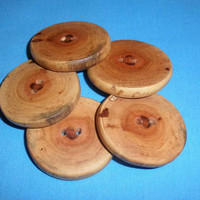 """5 Tree Branch Buttons 1.75"""" Handcrafted Primitive Rustic Wooden Buttons, Wild Cherry Wood"""